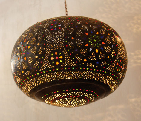 Lampe marocaine customis e d cor salon marocain - Lampe decorative salon ...