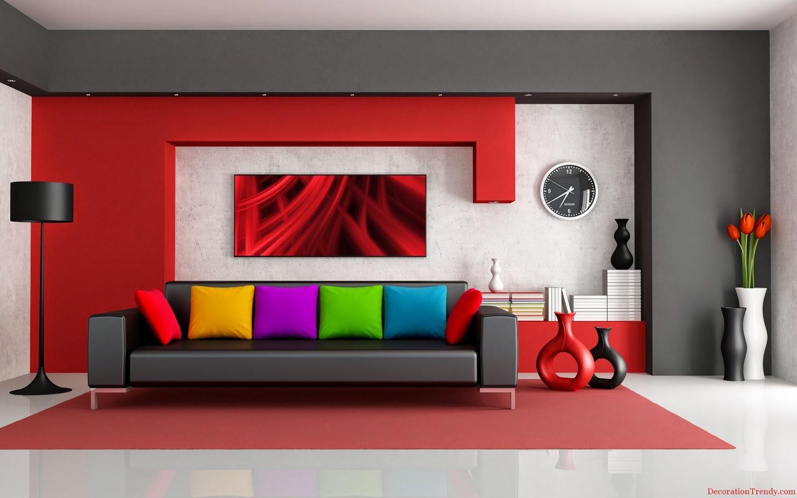 couleur opur salon moderne en gris perlé et rouge