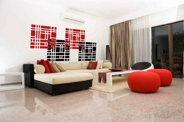 décoration en charment couleur blanc et rouge et noir