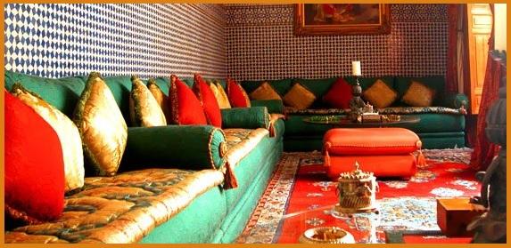 salon vert et orange et dorée