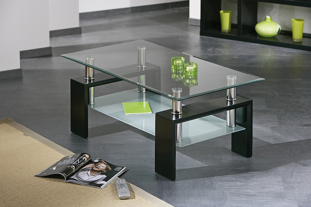 La table en verre le choix de l l gance d cor salon for Table basse noire design