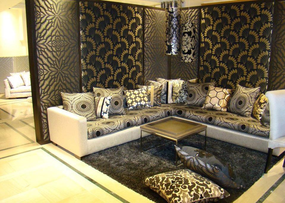 salon marocain de haut tendances en couleur gris perlé
