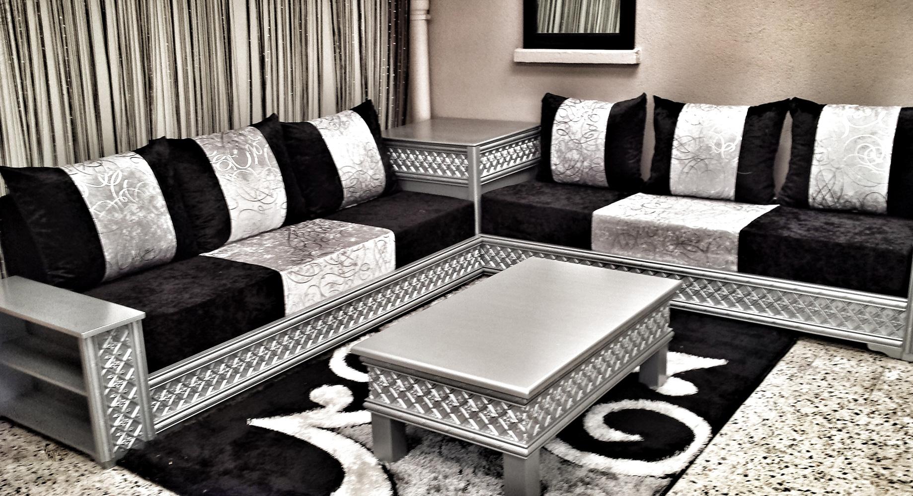 salon marocain en gris et noire