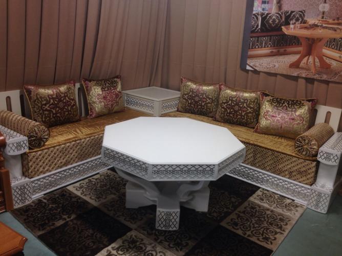 Salon Moderne Et Côté Marocain : Canapés de salon marocain en bois décor