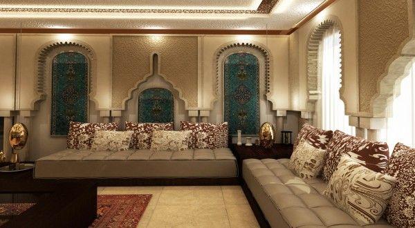 Salon marocain royal de luxe style oriental d cor salon for Salon oriental marocain
